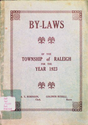 By-laws of the municipal council of the Township of Raleigh, 1923