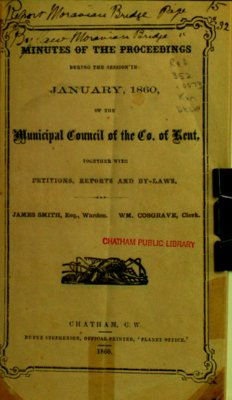 Minutes and proceedings of the Municipal Council of the County of Kent, 1860