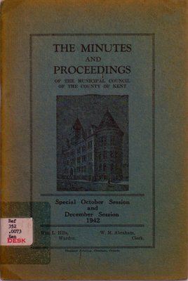 Minutes and proceedings of the Municipal Council of the County of Kent, 1942