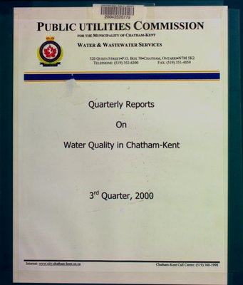 Quarterly reports on water quality in Chatham-Kent : 3rd quarter, 2000