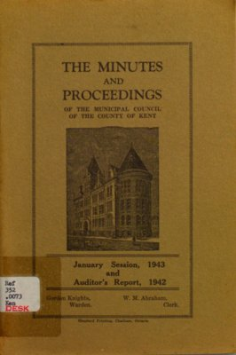 Minutes and proceedings of the Municipal Council of the County of Kent, 1943