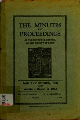 Minutes and proceedings of the Municipal Council of the County of Kent, 1934
