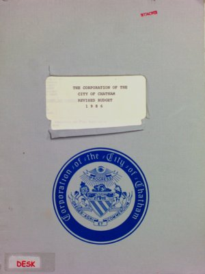 The Corporation of the City of Chatham revised budget 1986