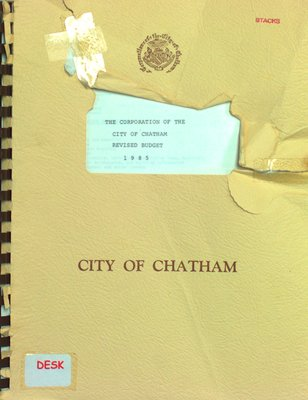 The Corporation of the City of Chatham revised budget 1985