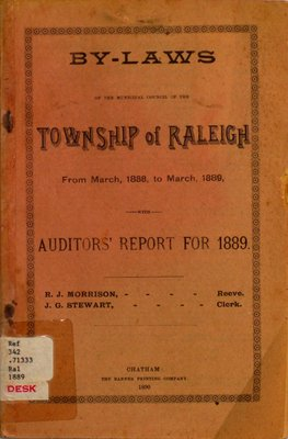 By-laws of the municipal council of the Township of Raleigh, 1889