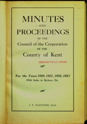 Minutes and proceedings of the Municipal Council of the County of Kent, 1920-23