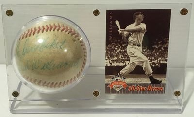 Ted Williams Autographed Baseball with Card