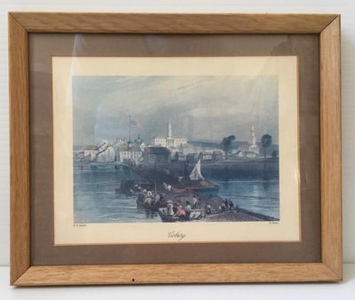 Bartlett etching of Cobourg Harbour- coloured