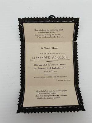 Memorial Card- Alexander Morrison