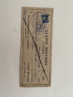 Clarke Brothers Cheque