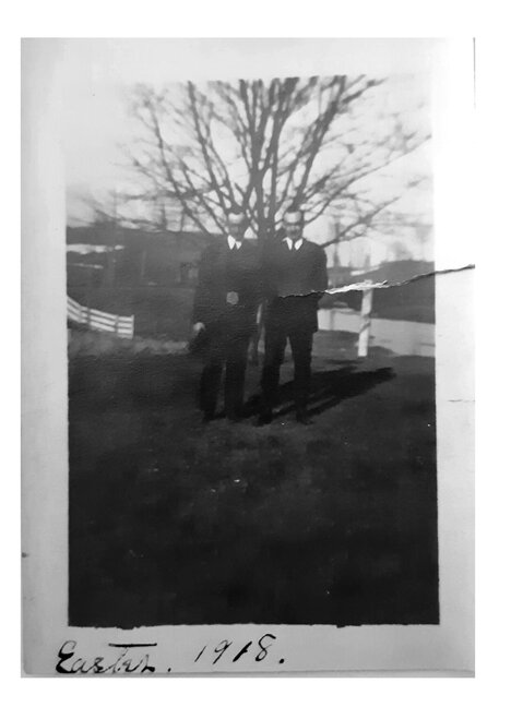 Two men standing outside, Easter 1918, Unidentified