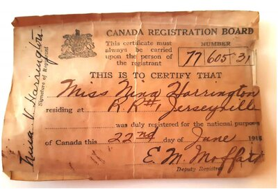 Canadian Registration Certificate, 1918