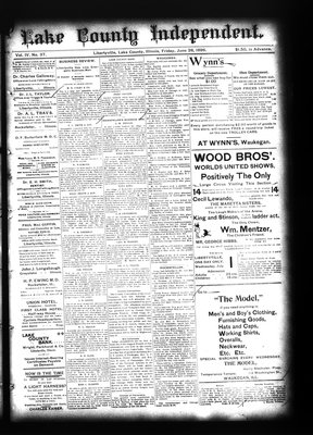 Lake County Independent (Libertyville, Lake County, Illinois: H.C. Paddock), 26 Jun 1896
