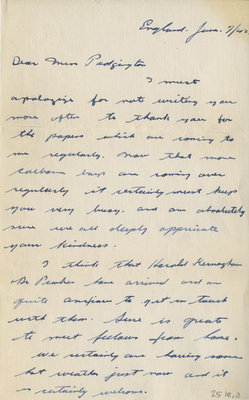 Letter from Pte. Fred Griffis to Eliza J. Padginton