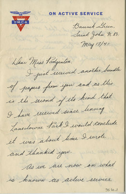 Letter from Pte. C.A. Burleigh to Eliza J. Padginton