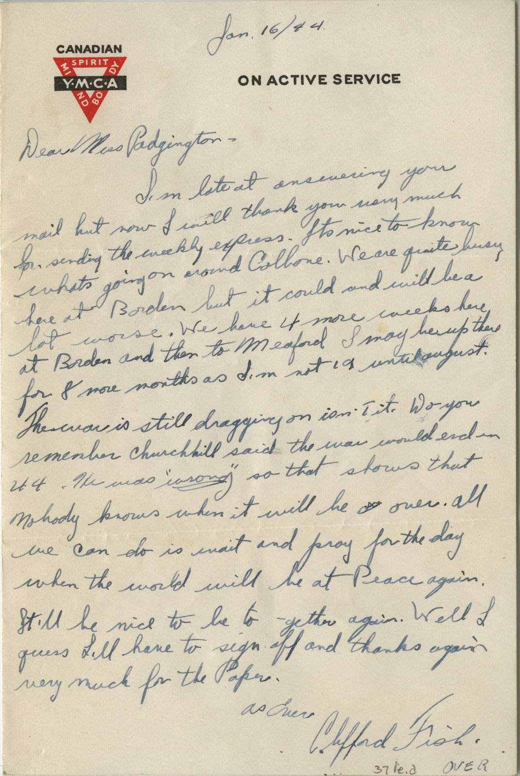 Letter from Pte. Clifford C. Fish to Eliza J. Padginton