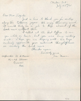 Letter from Cpl. Jim Moore to Eliza J. Padginton