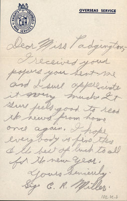 Letter from C.R. Miller to Eliza J. Padginton