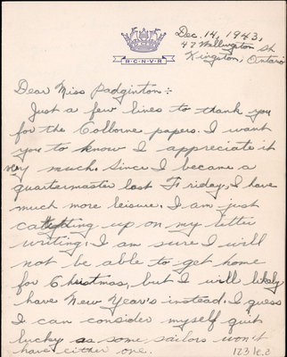 Letter from Archie Kemp to Eliza J. Padginton