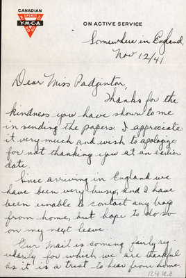 Letter from Alex Kells to Eliza J. Padginton