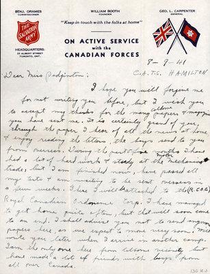 Letter from Bernard J. Kernaghan to Eliza J. Padginton