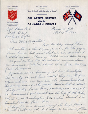Letter from Cpl. G. C. Shier to Eliza J. Padginton