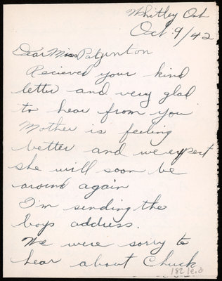 Letter from Pte. Kenneth Palmateer to Eliza J. Padginton