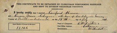 Sanford Brown and An(?) Maria Schryver, Marriage certificate