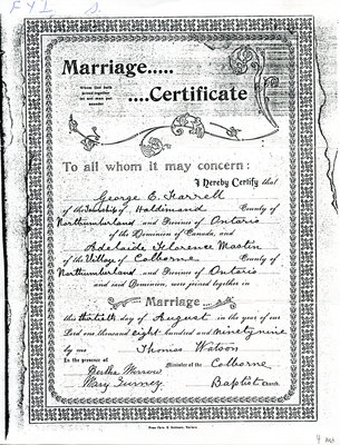 George E. Farrell and Adelaide Florence Mastin, Marriage certificate