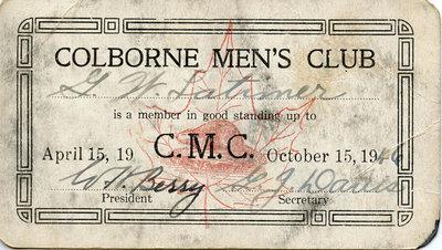 Colborne Men's Club Membership Card