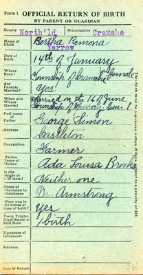Bertha Remona Yarrow, Birth Registration. Daughter of George Simon and Ada Louisa Brooks.