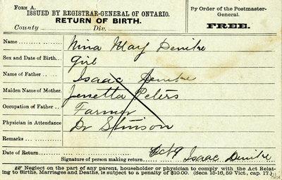 Nina Mary Denilne(?), Birth Registration. Daughter of Isaac Denilne and Jenetta Peters.