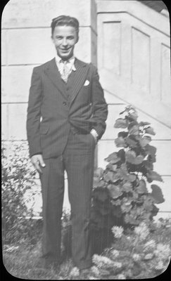 Portrait of Jack Armstrong in front of Colborne High School