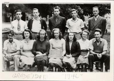 Class photograph, Colborne High School, Grades 12 & 13, Colborne, Cramahe Township, 1946