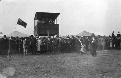The grandstand and crowds at the Colborne fair races