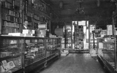 Photograph of Frank Griffis at his drug store, Colborne, Cramahe Township