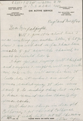 Letter and Christmas card from Albert M. Waller to Eliza J. Padginton.