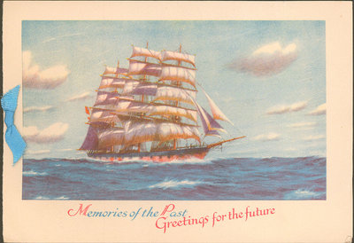 Christmas card from Milton Waller to Eliza J. Padginton.