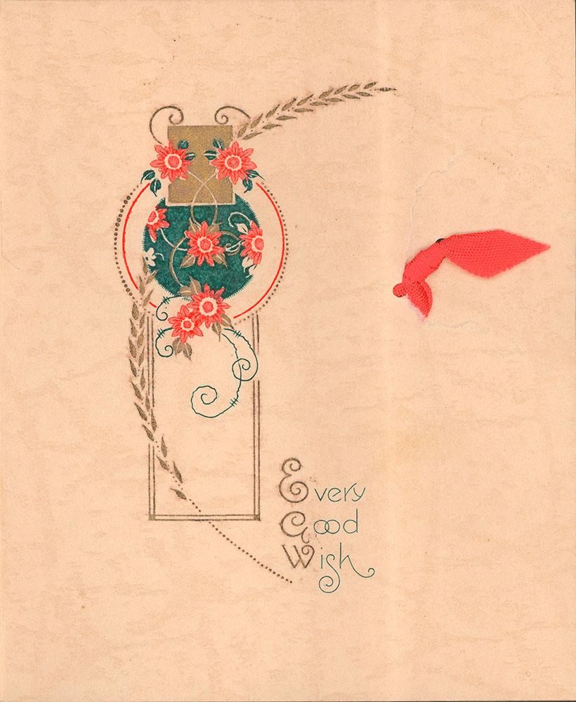Christmas card from Harold Kernaghan to Eliza J. Padginton.