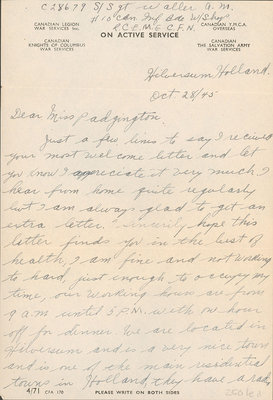 Letter and postcard from Albert M. Waller to Eliza J. Padginton.