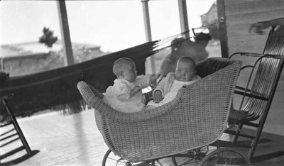 Two babies in a carriage at Griffis' summer home