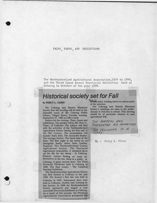 Fairs, Farms & Exhibitions: The Northumberland Agricultural Association, 1828-1848, and the Third Grand Annual  Provincial Exhibition held at Cobourg in October of the year 1848 by Percy Climo
