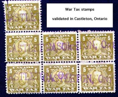 Five cent War Tax Stamps, postmarked Castleton