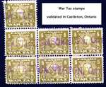 Five cent War Tax Stamps, postmarked Castleton