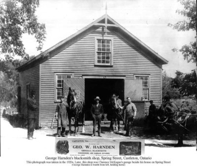 Photograph of George Harnden's blacksmith shop, Cramahe Township