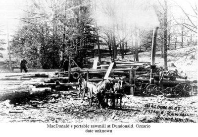 Photograph of MacDonald's portable sawmill, Dundonald, Cramahe Township