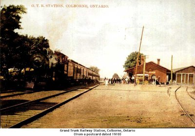 Postcard of locomotive pulling into Grand Trunk Railway Station, Colborne, Cramahe Township