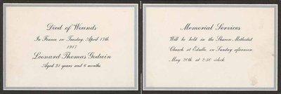 Leonard Thomas Godwin, WWI Mourning Card