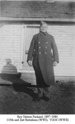 Photograph of Roy Nelson Packard (1897-1980), 115th and 2nd Battalions, WWI and VGOC WWII, Cramahe Township