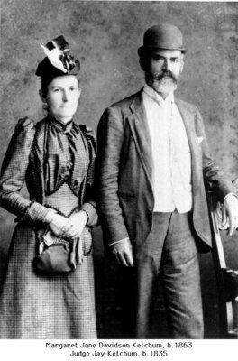 Studio portrait of Judge Jay Ketchum and Margaret Jane (Davidson) Ketchum, Colborne, Cramahe Township